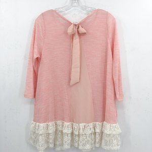 PEACH LOVE pink tiered ruffle bow lace casual top